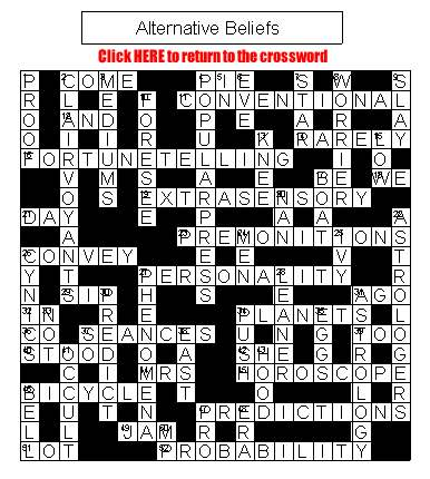 Crossword on Alternative Beliefs