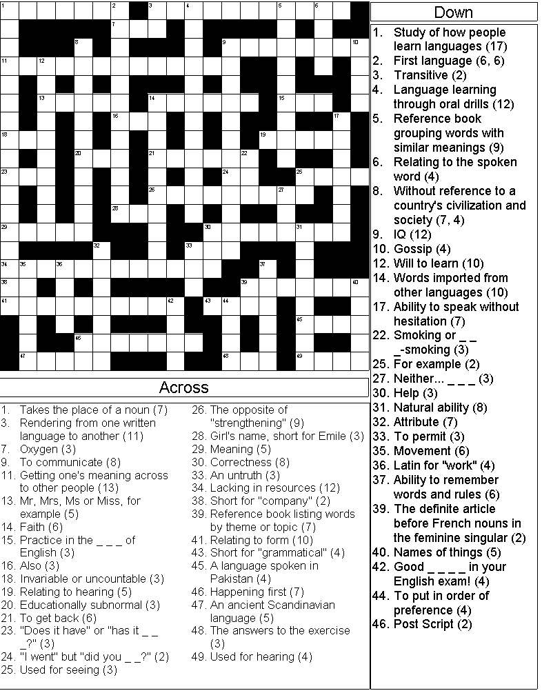 Crossword on Language Learning