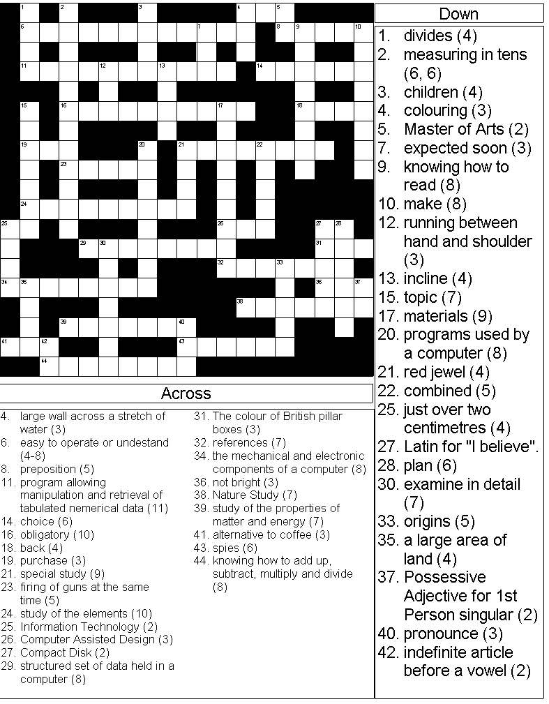 Crossword on Science & Technology