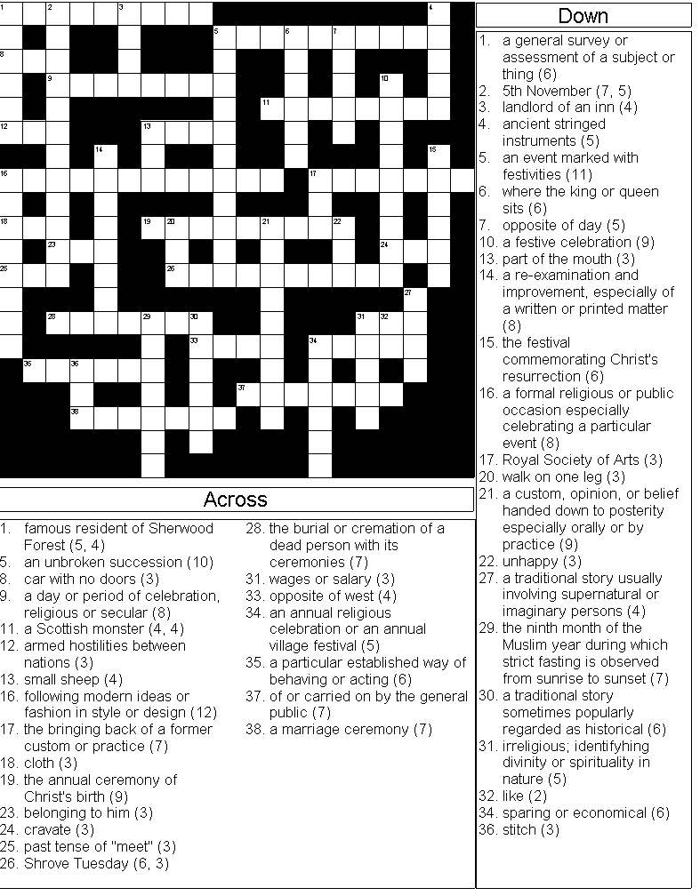 Crossword on Traditions